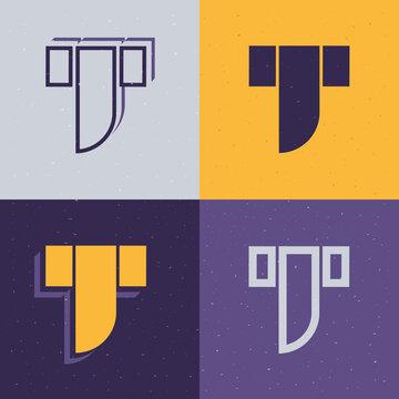 Letter T stencil logo set.