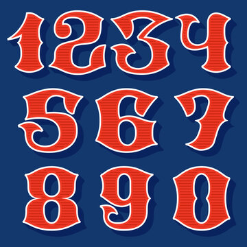 Classic style sport numbers set.