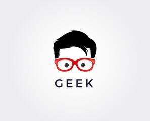 minimal geek logo template - vector illustration