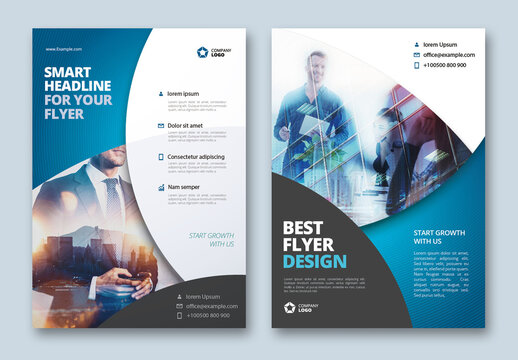 Business Flyer Layout with Blue Circle Elements