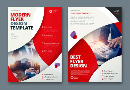 Business Flyer Layout with Red Circle Elements