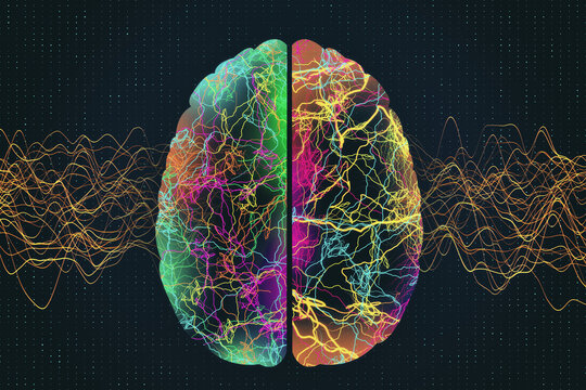 Abstract glowing polygonal brain with color lines