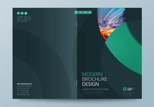 Business Report Cover Layout with Teal Circle