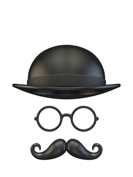Cylinder hat, eyeglasses and moustaches 3D