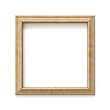 Wooden square shaped picture frame 3D