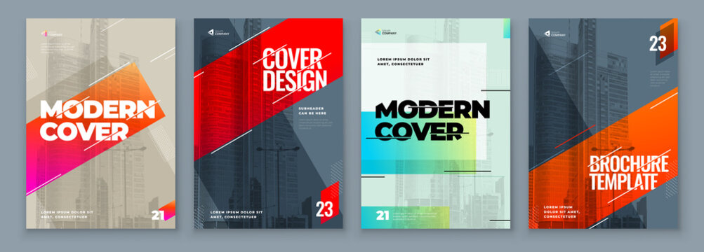 Set of Brochure Design Cover Template for Brochure, Catalog, Layout with Color Shapes. Modern Vector illustration Brochure Concept in Dark Colors