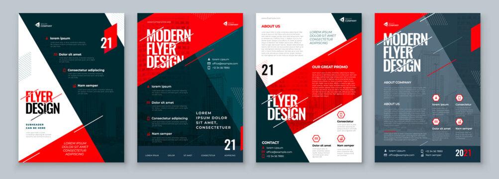 Flyer Design Set. Dark Red Modern Flyer Background Design. Template Layout for Flyer. Concept with Dynamic Line Shapes. Vector Background.