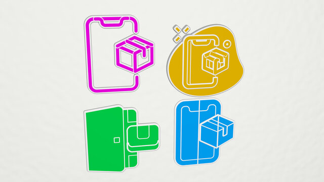 package delivery colorful set of icons. 3D illustration