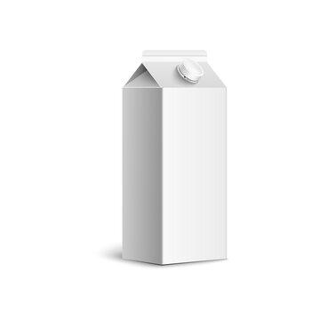 Blank white juice box mockup isolated on white background
