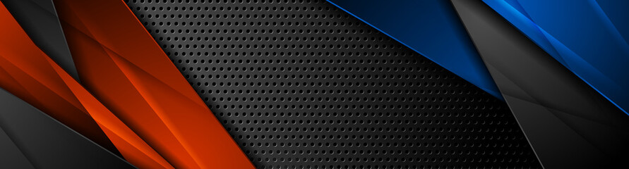 Wall Mural - Blue and orange glossy lines on dark perforated background. Vector banner design