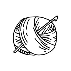 vector drawing in the style of doodle. a skein of yarn for knitting and a crochet hook. simple drawing of a ball of thread for crocheting. symbol of handmade, homework, hobby. I love to knit.