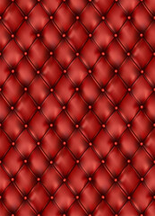 Fototapeta Tufted leather red furniture semaless pattern background. Buttons sofa texture. vector. Cushion elegant classic soft furniture. Graphic illustration obraz