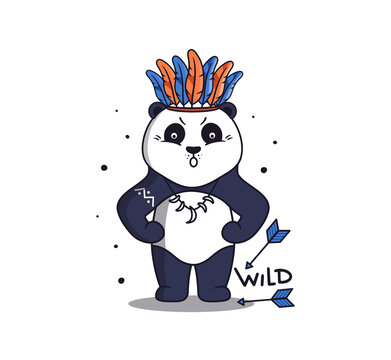 A strong panda in boho style with arrows and feathers.
