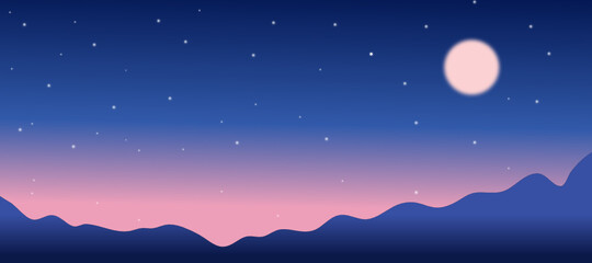 Full moon in starry night sky and mountains view landscape,fantasy. vector illustration.