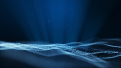 Dark blue abstract animation background with moving and flicker particles form. Backdrop of bokeh light ray effect.