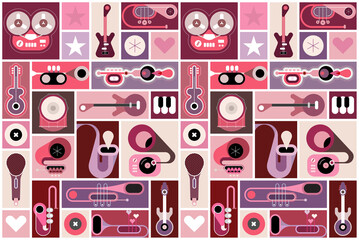 Music instruments collage, pop-art vector illustration. Musical poster design with many different elements. Can be used as seamless background.