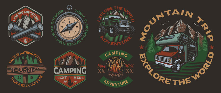 Set of color vintage badges for the camping theme on the dark background. Perfect for posters, apparel, T-shirt design and many other. Layered