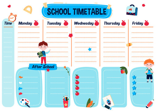 Printable planning list for kids. School timetable for student. Weekly schedule for lessons and program after school. Education Planner. Organizer for college with cute chart.