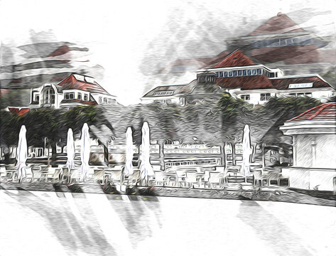 Square and promenade architcture landmark in Sopot art illustration drawing