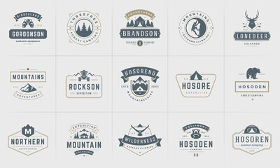 Obraz Camping logos and badges templates vector design elements and silhouettes set - fototapety do salonu