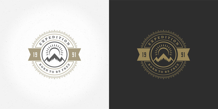 Mountain camping logo emblem outdoor landscape vector illustration rock hills silhouette for shirt or print stamp