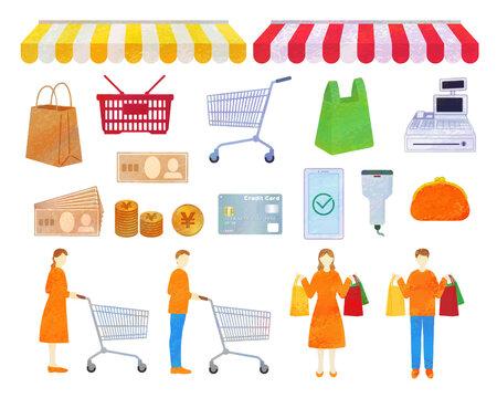 Shopping illustration material / analog style
