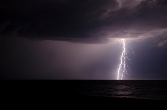 Flash of lighting during a summer storm in the Black Sea