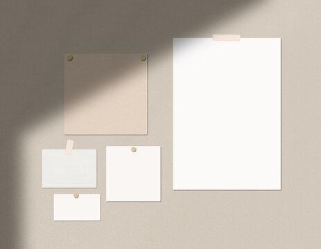 Mood Board Mockup Print Mockup with Shadow Mood Board Scene Stationery Mockup Brand Identity Mockup