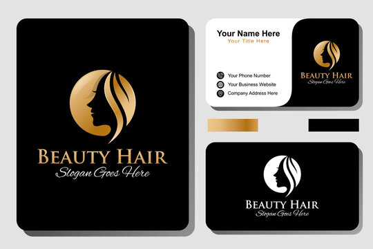 feminine luxury and Beauty woman hair salon gold gradient logo. nature cosmetic, skin care business logo with business card design