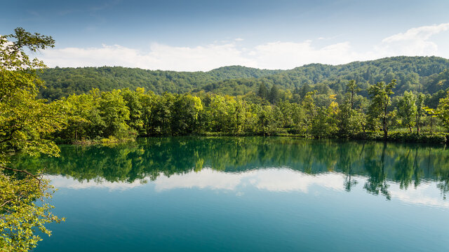 Big lake with crystal clear water in the forest in Plitvice lakes National Park, Croatia. Nature landscape