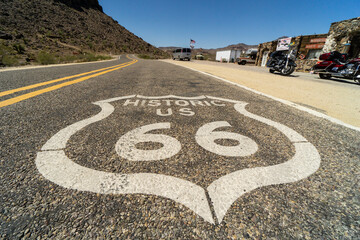 Fotobehang Route 66 Along the route 66, symbol painted on the asphalt of the route