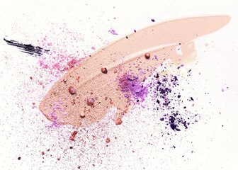 Beauty concept in violet colors. Smudged makeup foundation, broken shadows and sparkles on white background