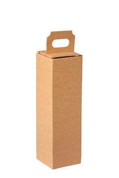 Brown cardboard carton box for wine bottle, isolated