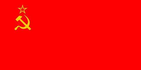 USSR communism icon with hammer and sickle. Vector flag with star and socialism symbol. Red Soviet Background.