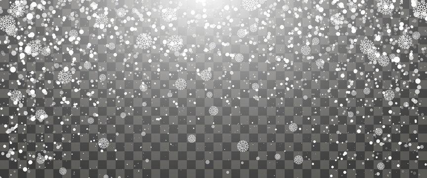 Snowfall and falling snowflakes