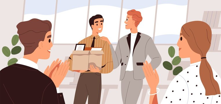People welcome new team member in the office. Colleague introduction and acquaintance. First day at work concept. Friendly coworkers applauding, meeting employee. Flat vector cartoon illustration