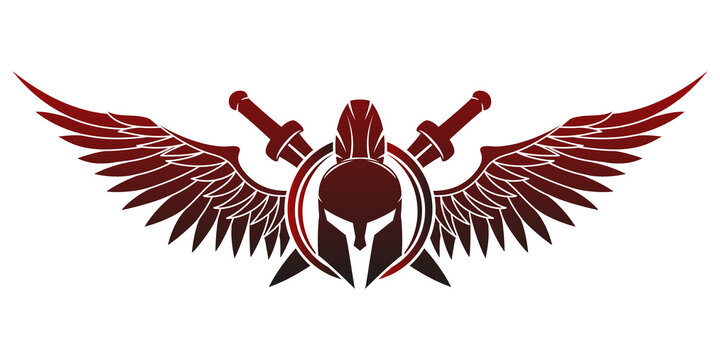 Spartan helmet with shield and swords and wings on a white background.
