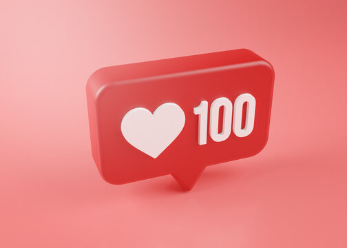 One Hundred Love Notification Icon 3D Rendering on Pink Background