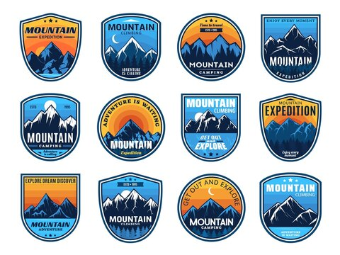 Mountain climbing, camping travel icons, tourism sport and outdoor travel, vector. Mountain camping and hiking club expedition shield badges, camp tourism and mountaineering extreme adventure