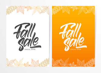 Vector Two Autumn discount templates of Fall Sale posters.