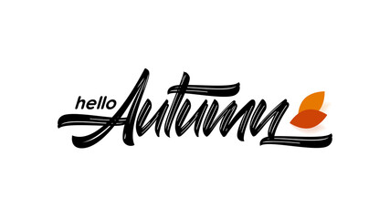 Vector hand drawn type lettering of Hello Autumn with fall leaves.