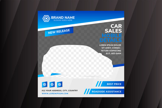 Car sales social media banner kit booster, Stylish design vector template. Diagonal space for photo collage. square layout use blue and grey colors combination.