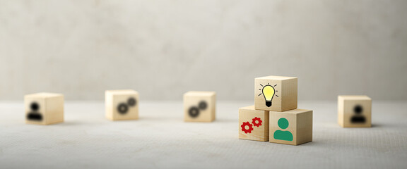cubes showing a brainstorming session on concrete background