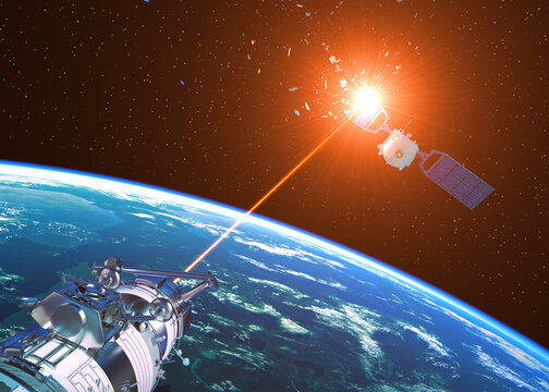 Laser Cannon Incapacitates Enemy Satellite In Space
