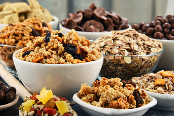 Composition with different sorts of breakfast cereal products