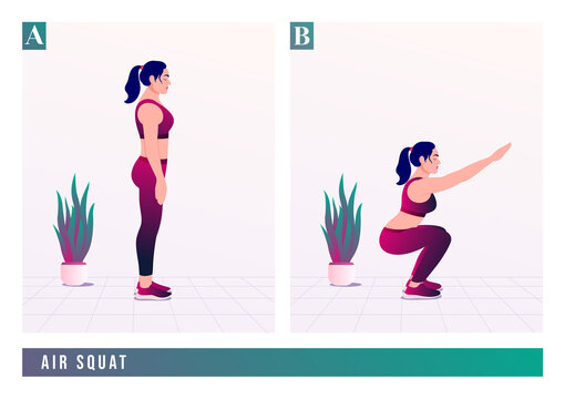AIR SQUAT exercise, Woman workout fitness, aerobic and exercises. Vector Illustration.