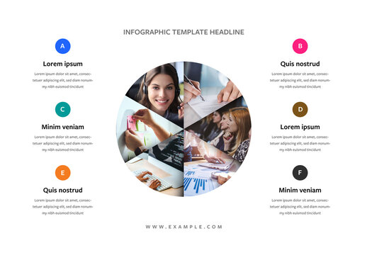 Infographic Layout with Pie Chart Placeholder Photos