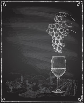 Wine chalkboard banner with empty space for text and hand drawn graphic illustration with man hand holding bunch of grapes