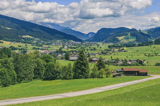 Hiking trail leading through beautiful mountain region in Altenmarkt im Pongau