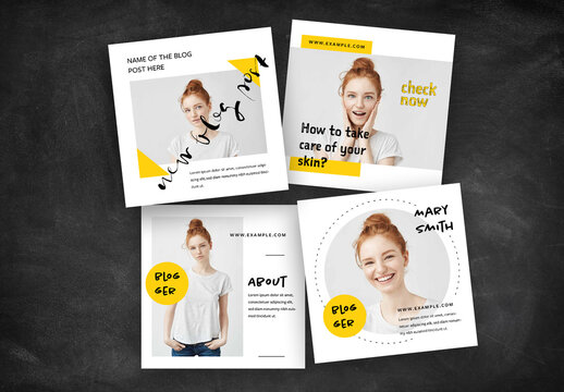 Blogger Social Media Layouts with Yellow Accents